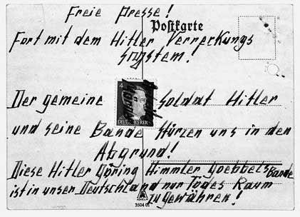 One of the original postcards by Otto and Elise Hampel