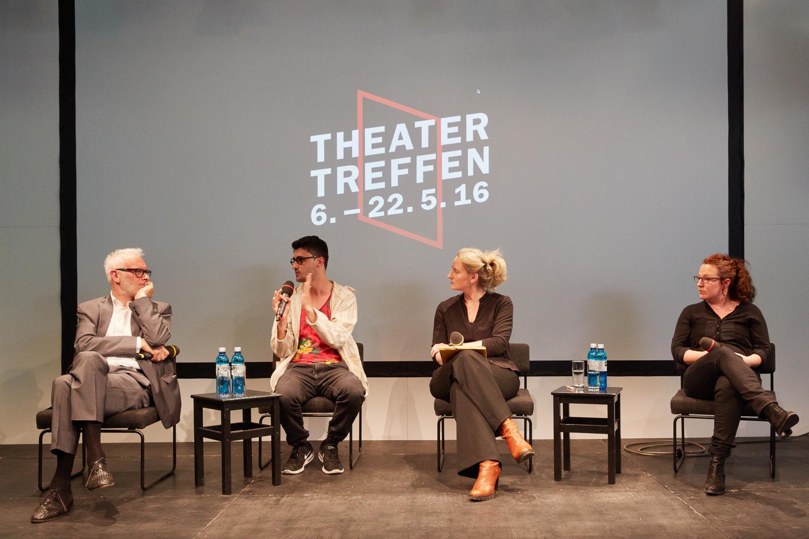 Im Gespräch: Herbert Fritsch, Ersan Mondtag, Christine Wahl, Daniela Löffner © Judith Buss