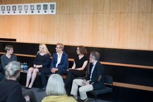 Theatertreffen Camp: Kein Sommermärchen, Liane Bednarz, Falk Richter, Miriam Tscholl, Hans Vorländer © Foto: Judith Buss